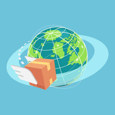 Flat 3d Isometric Cardboard Box Flying Around The World. Global Shipment and Logistics Concept.