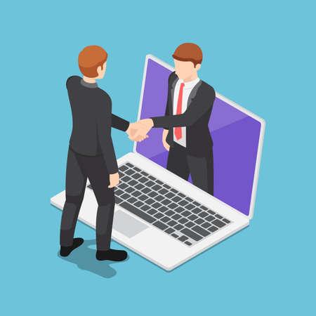 Flat 3d Isometric Businessmen Having Online Agreement and Shaking Hands Through Laptop Screen. Online Business Concept. Çizim