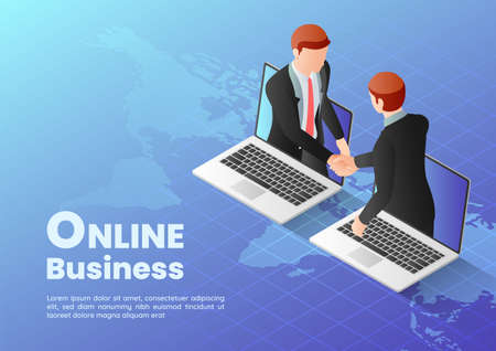 3d Isometric Web Banner Businessmen Having Online Agreement and Shaking Hands Through Laptop Screen. Online Business Concept.