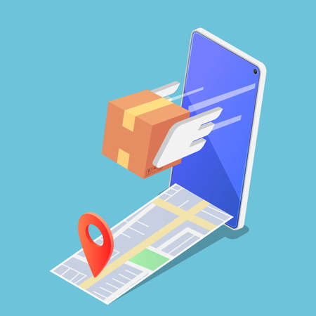 Flat 3d Isometric Parcels Box Flying Forward Rapidly From Smartphone with Pin on The Map. Fast and Safe Delivery Services Concept. Çizim