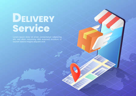 3d Isometric Web Banner Parcels Box with Wings Flying Rapidly From Smartphone with Map and Pin. Fast Delivery Services and Online Shopping Concept.