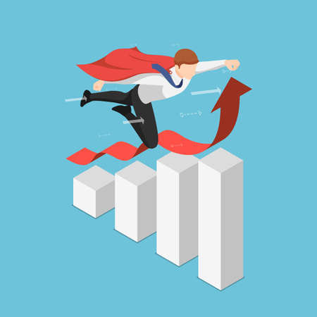 Flat 3d Isometric Super Businessman Flying Over Growing Business Graph. Leadership and Successful Concept.