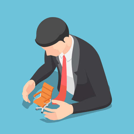Flat 3d Isometric Businessman Protecting Office Chair. Job Security and Protection Concept. Çizim