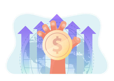 Hand Holding Coin with World and Rising Graph Background. Global Business and Finance Concept.