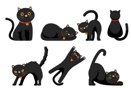 Set of Cute Black Cats Set Isolated on White Background. Funny Cartoon Animal Characters