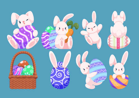 Set of Cute Easter Egg and Bunny Character in Different Poses. Easter Holiday Concept.