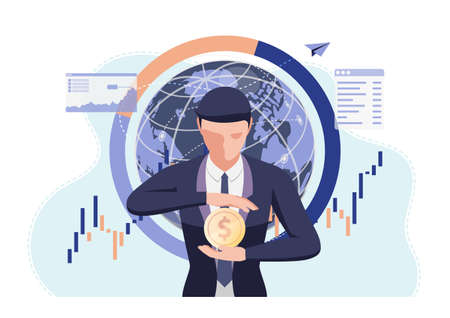 Businessman Holding Dollar Coin in His Hand. Money Protection and Financial Concept. Çizim