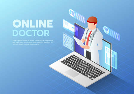 3d Isometric Web Banner Doctor doing Online Diagnose on The Computer Laptop Screen. Online Medical Consultation Concept.