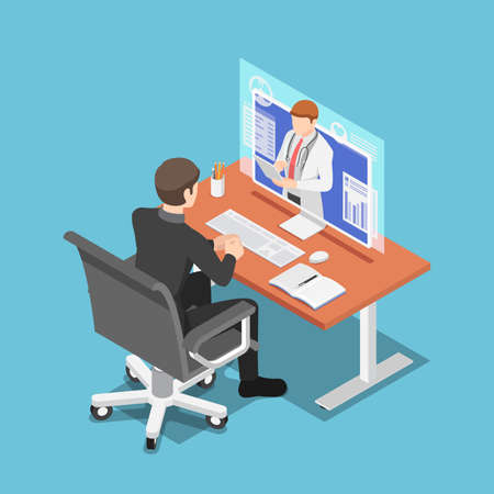 Flat 3d Isometric Businessman Video Conference with Doctor on PC Monitor. Online Medical Consultation and TeleMedicine Concept. Çizim
