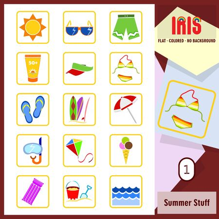 sorted: Set of summer and beach related icons. Flat design. Rounded corners. Transparent background. Thick border. All main elements well grouped and sorted in layers. Illustration