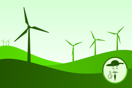 Green colored wind farm. At the bottom right Don Quixote smiling and making OK gesture