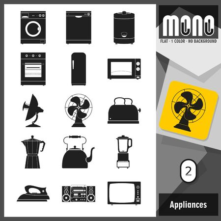 sorted: Set of home appliances icons. Flat design. Transparent background. No border. All main elements well grouped and sorted in layers. Retro style.