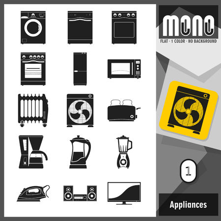 sorted: Set of home appliances icons. Flat design. Transparent background. No border. All main elements well grouped and sorted in layers. Modern style.