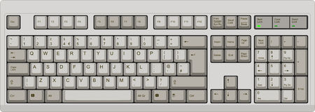 Vector illustration of a qwerty UK English layout computer keyboard. All sections are well organized and sorted for designer convenience. Ilustração