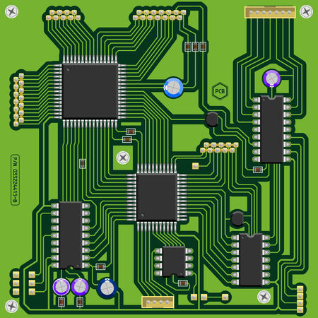 Illustration of a green printed circuit board PCB with electronic components. All main elements well grouped and sorted in layers.