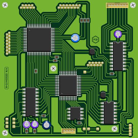 componentes electronicos: Ilustraci�n de un circuito verde impreso PCB bordo con los componentes electr�nicos. Todos los elementos principales bien agrupados y ordenados en capas.