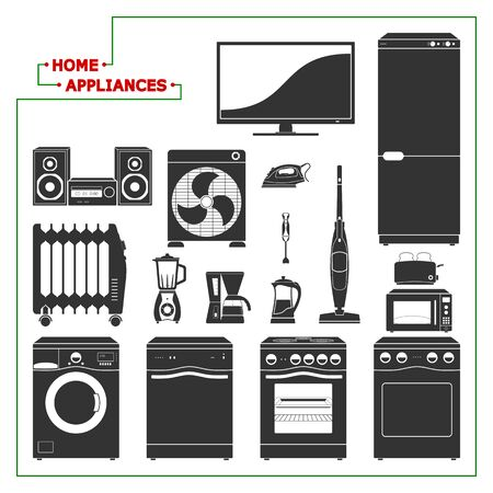home appliances: Scaled monochromatic home appliances vector illustration. Modern style. All main elements well grouped and sorted in layers.