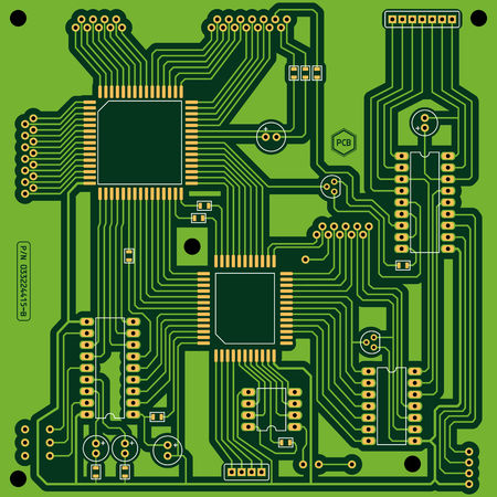 condenser: Illustration of a green printed circuit board PCB without electronic components. All main elements well grouped and sorted in layers.