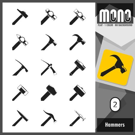 claw hammer: Set of hammer and mallet icons. Flat design. Transparent background. No border. All main elements well grouped and sorted in layers.