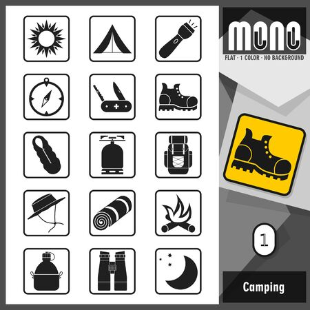 sorted: Set of camping related icons. Flat design. Transparent background. Thick border. Rounded corners. All main elements well grouped and sorted in layers.