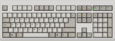 쿼티 미국 영어 레이아웃 컴퓨터 키보드의 벡터 일러스트 레이 션. 모든 섹션은 잘 조직과 디자이너 편의를 위해 분류되어 있습니다.