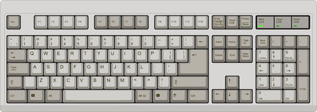 Vector illustration of a qwerty US English layout computer keyboard. All sections are well organized and sorted for designer convenience.