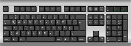 sorted: Vector illustration of a QWERTY with Latin American Spanish LA layout computer keyboard. All sections are well organized and sorted for designers convenience. Illustration