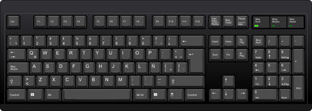 Vector illustration of a QWERTY with Latin American Spanish LA layout computer keyboard. All sections are well organized and sorted for designers convenience. Ilustrace