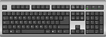 qwerty: Vector illustration of a qwerty US English layout computer keyboard. All sections are well organized and sorted for designer convenience.