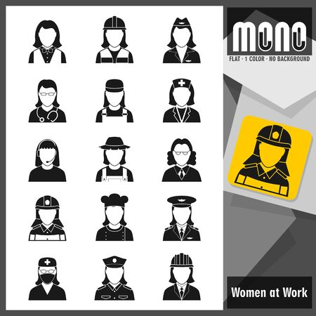 sorted: Professions: Worker women. Set of 15 flat monochromatic icons. No borders. No margin. Transparent background. Vector file with well sorted and named layers for designers convenience. Illustration