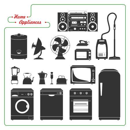 home appliances: Scaled electrodom�sticos Ilustraci�n monocrom�tica del vector. Estilo retro. Todos los elementos principales bien agrupados y ordenados en capas. Vectores