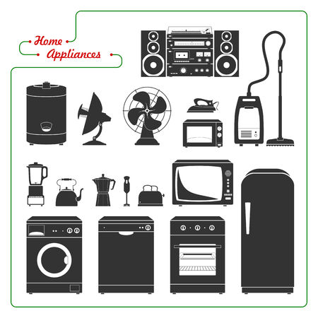 sorted: Scaled monochromatic home appliances vector illustration. Retro style. All main elements well grouped and sorted in layers.