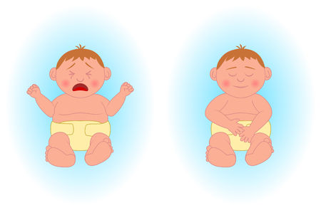 upbringing: Illustration of two caucasian baby boys. The first one crying the other one sleeping. All elements well sorted and organized in separate layers. Illustration