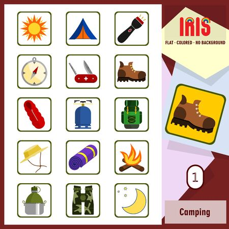 sorted: Set of camping related icons. Flat design transparent background thick border rounded corners. All main elements well grouped and sorted in layers.