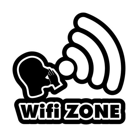sorted: WiFi Zone vector illustration sticker. All main elements are well organized and sorted in layers for easy handling. Black and white