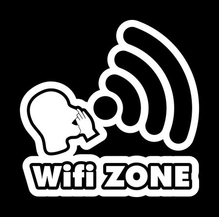 bald woman: WiFi Zone vector illustration sticker. All main elements are well organized and sorted in layers for easy handling. Negative black and white