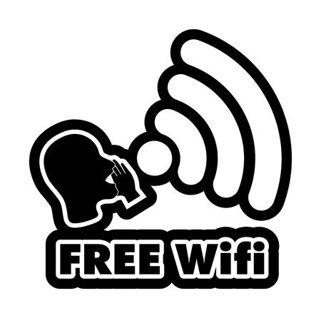 bald woman: Free WiFi vector illustration sticker. All main elements are well organized and sorted in layers for easy handling. Black and white Illustration