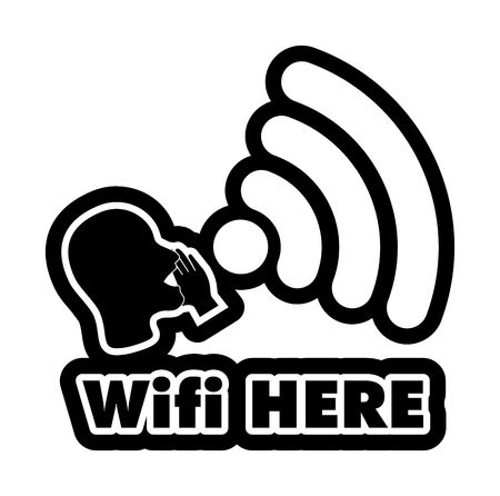 bald woman: WiFi Here vector illustration sticker. All main elements are well organized and sorted in layers for easy handling. Black and white