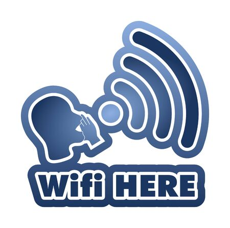 sorted: WiFi Here vector illustration sticker. All main elements are well organized and sorted in layers for easy handling. Blue gradient Illustration
