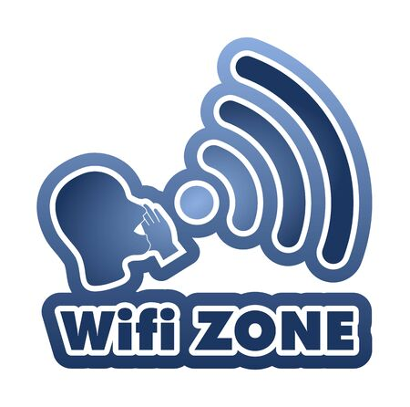 bald woman: WiFi Zone vector illustration sticker. All main elements are well organized and sorted in layers for easy handling. Blue gradient
