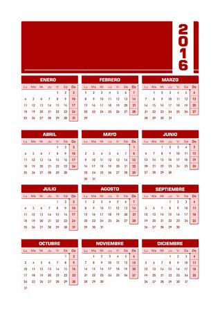 sorted: Calendar 2016 Spanish. Vector illustration with empty space for your contents. All elements sorted and grouped for easy edition