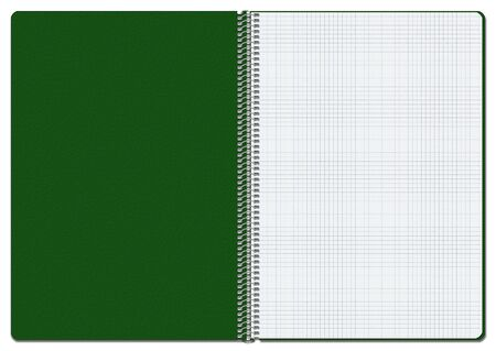 Illustration of an opened green checkered notebook. Suitable for use as background