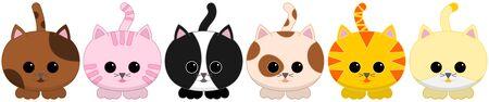 tiled: Vector illustration of six cats on transparent background. Suitable for tiled design