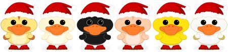 ducklings: Vector illustration of six ducklings dressed as Santa Claus on transparent background. Suitable for tiled designs