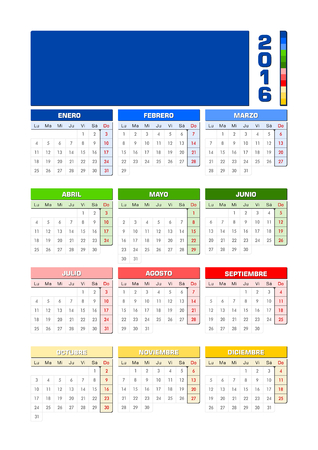 hemisphere: Calendar 2016 Spanish Northern hemisphere.