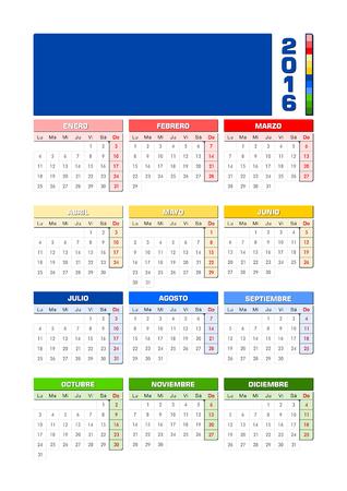 hemisphere: Calendar 2016 Spanish Southern hemisphere.