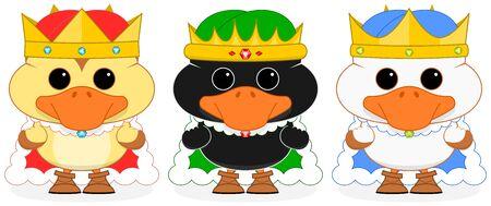reyes magos: Ilustración vectorial de tres de los magos vestidos patitos de dibujos animados sobre un fondo transparente. Todos los elementos están bien ordenados y agrupados en capas