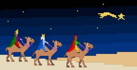 reyes magos: Los tres reyes magos siguiendo la estrella. ilustración vectorial pixelada