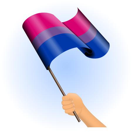 transexual: Ilustraci�n vectorial de una mano que sostiene una bandera del orgullo bisexual. Todos los elementos ordenados y agrupados en capas