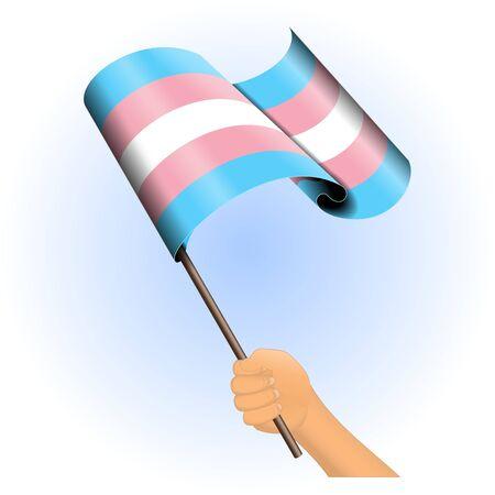transexual: Ilustración vectorial de una mano que sostiene una bandera del orgullo transexual. Todos los elementos ordenados y agrupados en capas